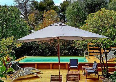 piscine avec terrasse, transates